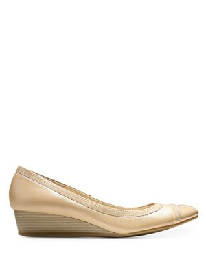 Elsie Cap Toe Wedge (40mm) - Sandstone