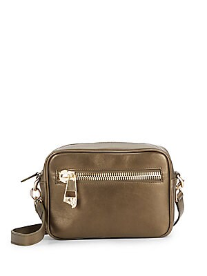 Metallic Leather Logo-Zip Crossbody Bag