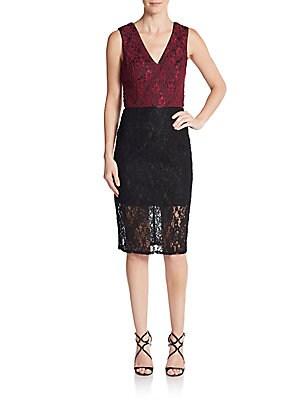 Lace Blocked Sheath Dress