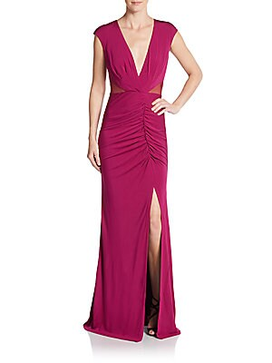 V-Neck Ruched Jersey Gown