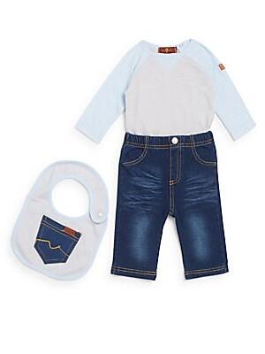 Baby's Long Sleeve Bodysuit, Knit Jeans & Bib Set