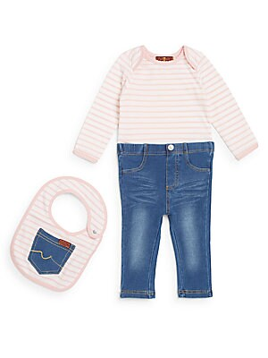 Baby's Three-Piece Top, Jeans & Bib Set