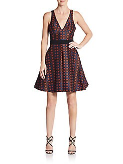 Lurex-Check Pleated A-Line Dress