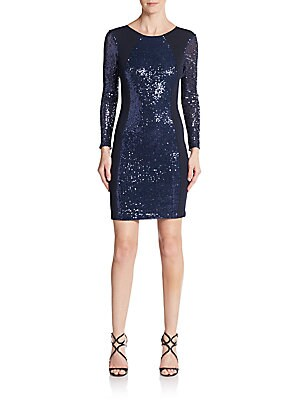Sequin & Mesh Cocktail Dress