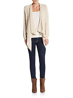 Draped Front Cashmere Cardigan