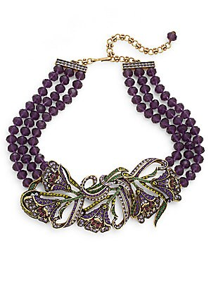 Heavenly Bloom Swarovski Crystal Beaded Three-Row Statement Necklace