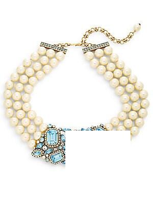 Fantasy In Fancies Beaded Three-Row Swarovski Crystal Collar Necklace