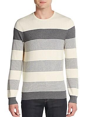Colorblock Striped Cotton & Cashmere Sweater