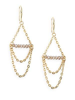 Draped Chain & Bead Earrings
