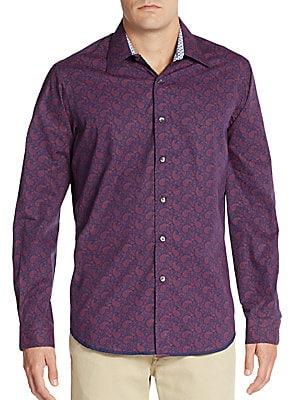 Trim-Fit Paisley Cotton Sportshirt