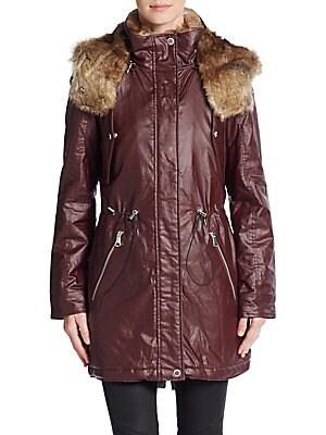 Lauren Faux Fur-Trimmed Coated Jacket