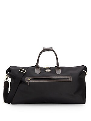 22-Inch Leather Trimmed-Canvas Duffel Bag