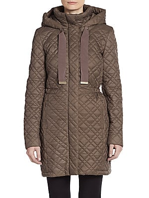 Diamond Quilted Long Coat