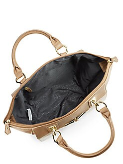 Alexa Reptile-Embossed Colorblock Faux Leather Tote