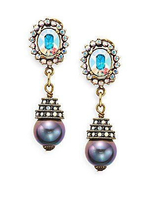 Floral Intrigue Swarovski Crystal & Bead Drop Earrings/Goldtone