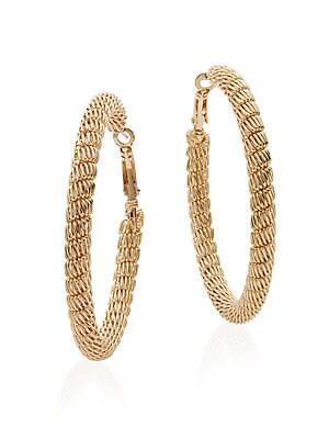 Mesh Hoop Earrings/Goldtone