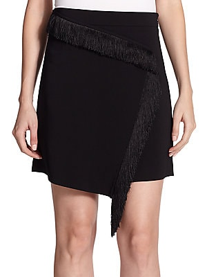 Fringe-Trim Silk Wrap Skirt