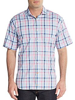 TD Thomas Dean  Regular-Fit Plaid Check Dress Shirt