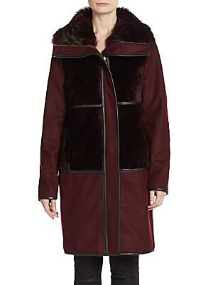 Sofia Shearling Wool-Blend Coat