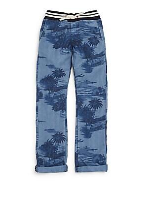Little Boy's Palm-Print Cotton & Linen Pants