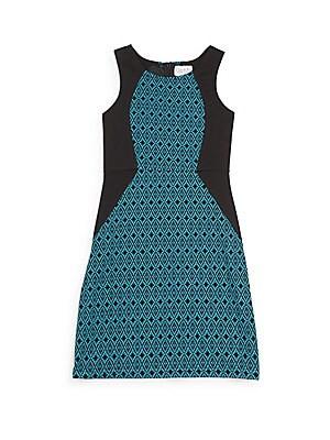 Girl's Geo-Print Colorblock Sheath Dress