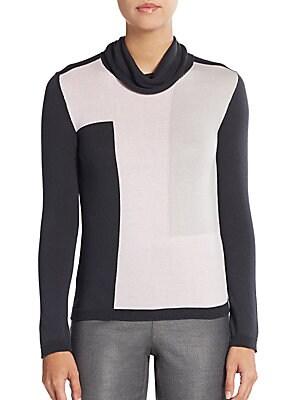 Geo-Blocked Turtleneck Sweater