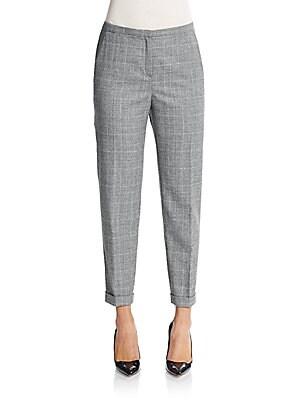 Plaid Tapered Slim-Leg Pants