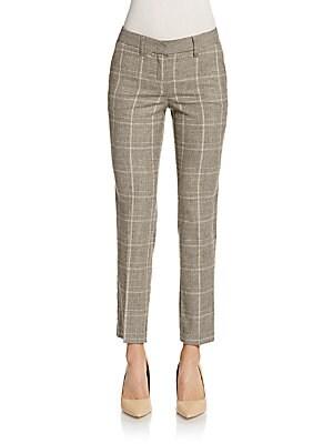 Glen Plaid Slim Ankle Pants