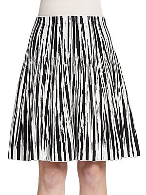 Flared Chevron Knit Skirt