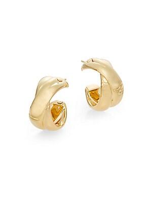 Bamboo 18K Yellow Gold J-Hoop Earrings/0.5