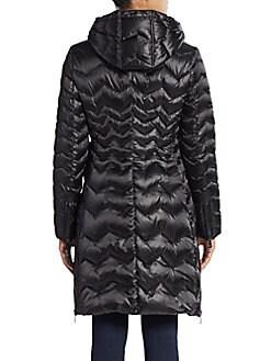 Karen Chevron-Quilted Down Puffer Coat