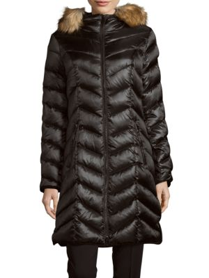 ABILENE FAUX FUR-TRIMMED DOWN PUFFER COAT