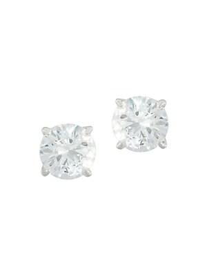 Round Stud Earrings/Silvertone
