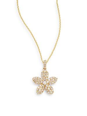 0.6 TCW Diamond & 14K Yellow Gold Flower Pendant Necklace