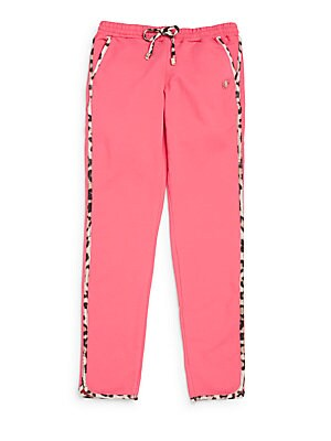 Girl's Leopard-Print Trimmed Cotton Sweatpants
