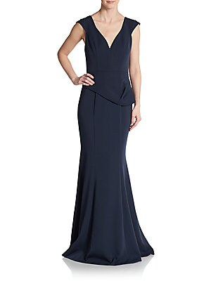 Crepe Plunge Trumpet Gown