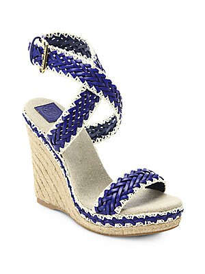 Leather Blend Espadrille Wedge Sandals