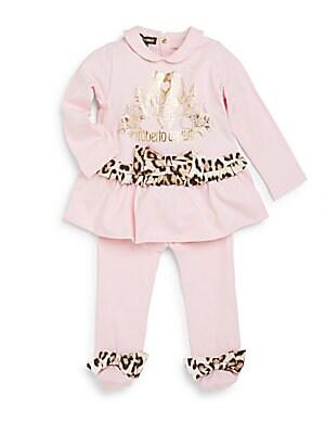 Baby's Peter Pan Collar Peplum Tunic & Footed Pants Set