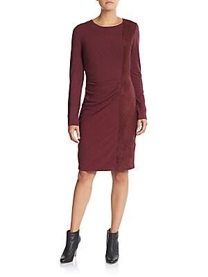 Faux Suede-Paneled Sheath Dress