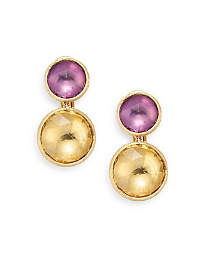 Jaipur Light Amethyst, Citrine & 18K Yellow Gold Double Drop Earrings