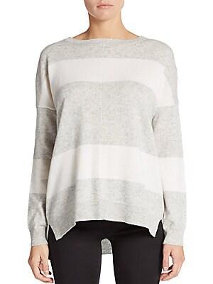 Striped Cashmere Hi-Lo Sweater