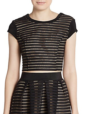 Striped Mesh Cap-Sleeve Cropped Top