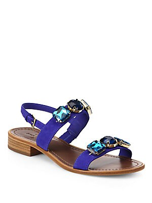Bacau Bejeweled Suede Sandals