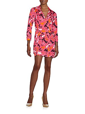 Celeste Printed Silk Wrap Dress