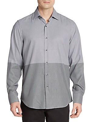 Regular-Fit Dot Two-Tone Cotton Sportshirt