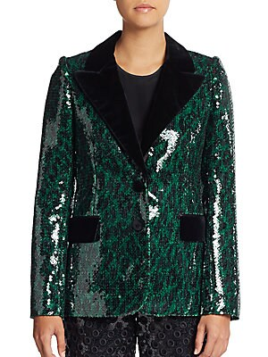 marc jacobs female leopard sequin twobutton blazer