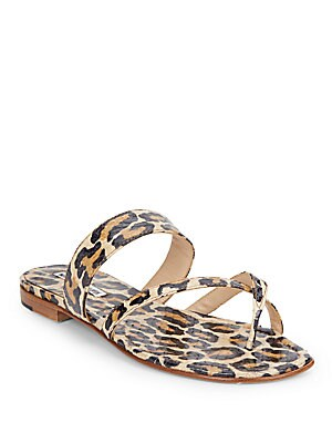 Embossed Leather Animal Print Sandals
