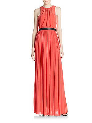 abs female pleated sheer overlay gown