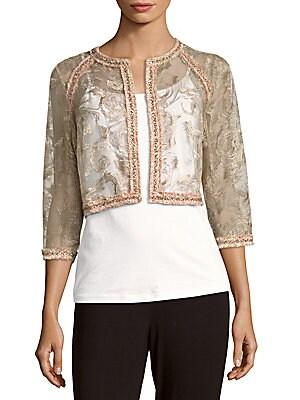 Tweed-Trimmed Lace Jacket