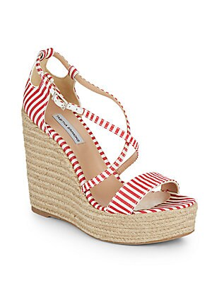 Jenny Striped Espadrille Wedge Sandals